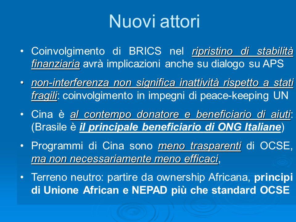 ripristino di stabilità finanziariaCoinvolgimento di BRICS nel ripristino di stabilità finanziaria avrà implicazioni anche su dialogo su APS non-interferenza non significa inattività rispetto a stati fragilinon-interferenza non significa inattività rispetto a stati fragili: coinvolgimento in impegni di peace-keeping UN al contempo donatore e beneficiario di aiutiCina è al contempo donatore e beneficiario di aiuti: (Brasile è il principale beneficiario di ONG Italiane) meno trasparenti ma non necessariamente meno efficaciProgrammi di Cina sono meno trasparenti di OCSE, ma non necessariamente meno efficaci, Terreno neutro: partire da ownership Africana, principi di Unione African e NEPAD più che standard OCSE Nuovi attori