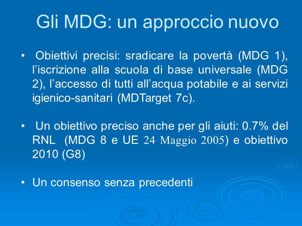 Gli MDG: un approccio nuovo Obiettivi precisi: sradicare la povertà (MDG 1), liscrizione alla scuola di base universale (MDG 2), laccesso di tutti allacqua potabile e ai servizi igienico-sanitari (MDTarget 7c).