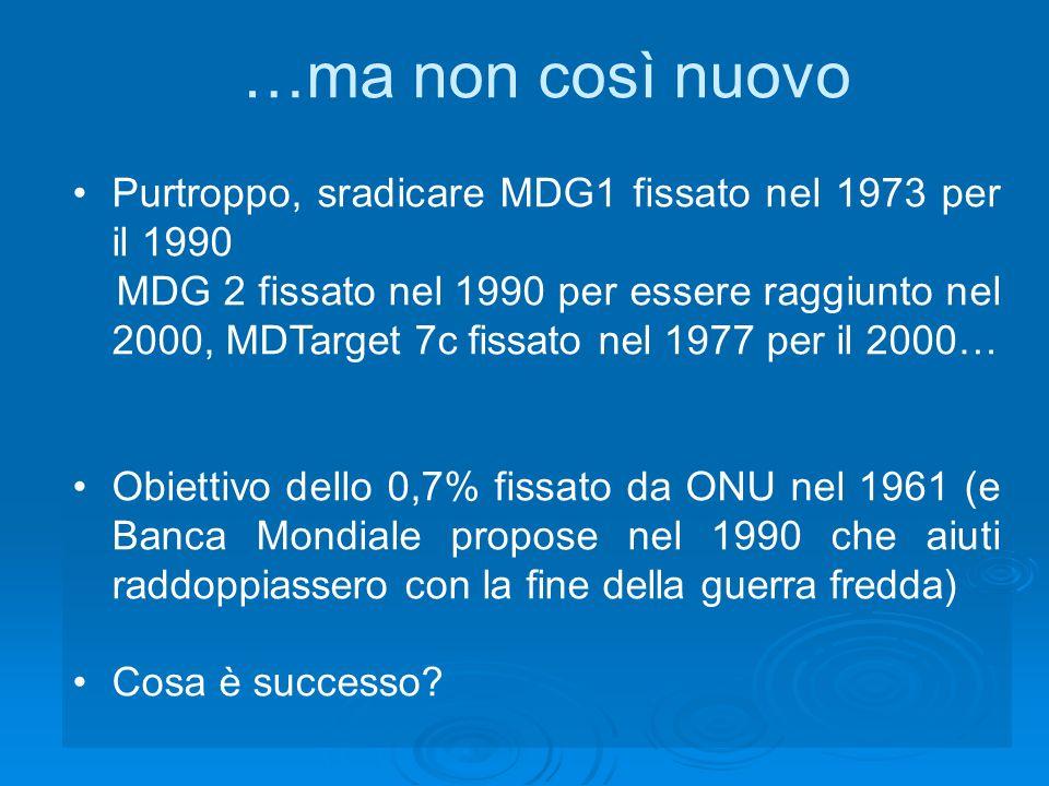 …ma non così nuovo Purtroppo, sradicare MDG1 fissato nel 1973 per il 1990 MDG 2 fissato nel 1990 per essere raggiunto nel 2000, MDTarget 7c fissato nel 1977 per il 2000… Obiettivo dello 0,7% fissato da ONU nel 1961 (e Banca Mondiale propose nel 1990 che aiuti raddoppiassero con la fine della guerra fredda) Cosa è successo?