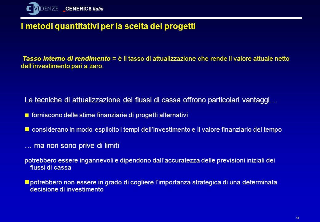 GENERICS Italia 13 I metodi quantitativi per la scelta dei progetti Tasso interno di rendimento = è il tasso di attualizzazione che rende il valore at