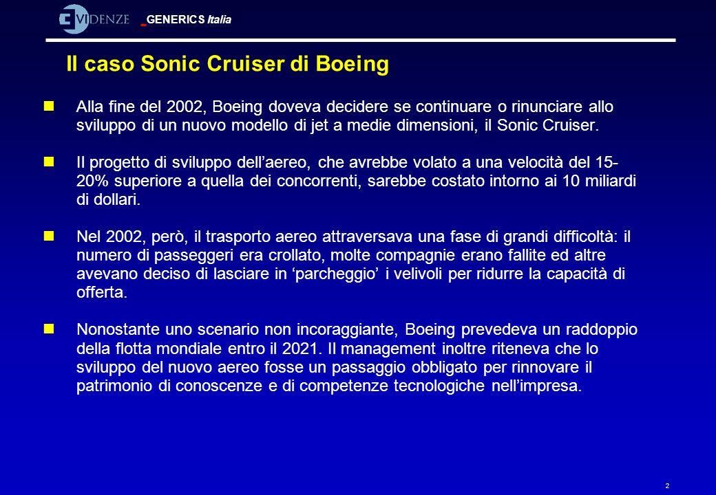 GENERICS Italia 2 Il caso Sonic Cruiser di Boeing nAlla fine del 2002, Boeing doveva decidere se continuare o rinunciare allo sviluppo di un nuovo mod