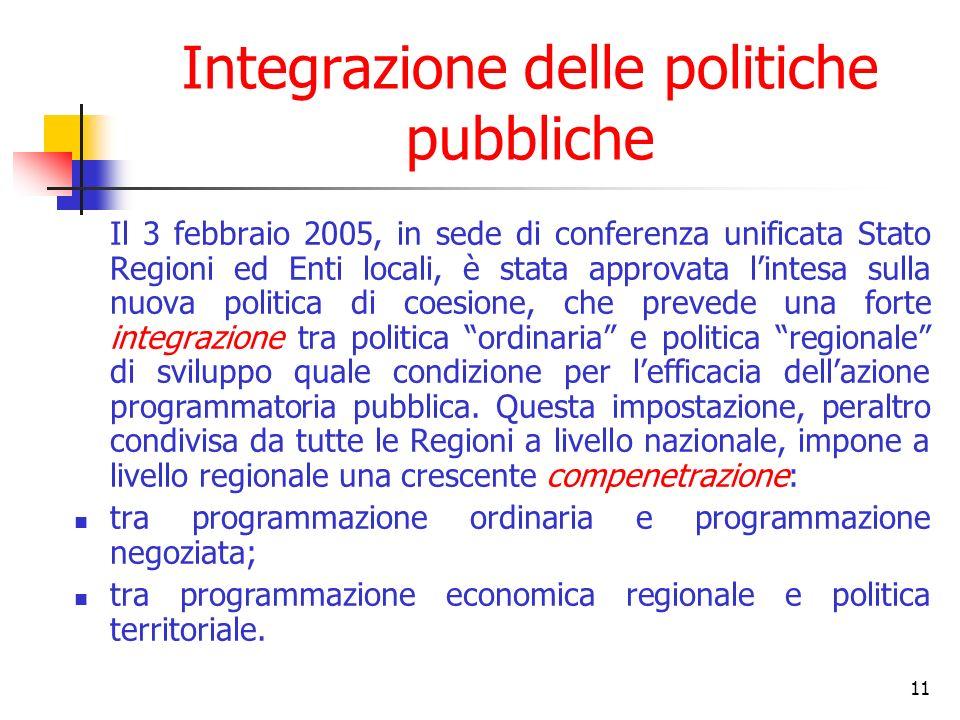 11 Integrazione delle politiche pubbliche Il 3 febbraio 2005, in sede di conferenza unificata Stato Regioni ed Enti locali, è stata approvata lintesa sulla nuova politica di coesione, che prevede una forte integrazione tra politica ordinaria e politica regionale di sviluppo quale condizione per lefficacia dellazione programmatoria pubblica.