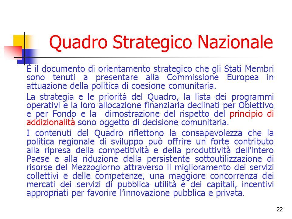 22 Quadro Strategico Nazionale È il documento di orientamento strategico che gli Stati Membri sono tenuti a presentare alla Commissione Europea in attuazione della politica di coesione comunitaria.