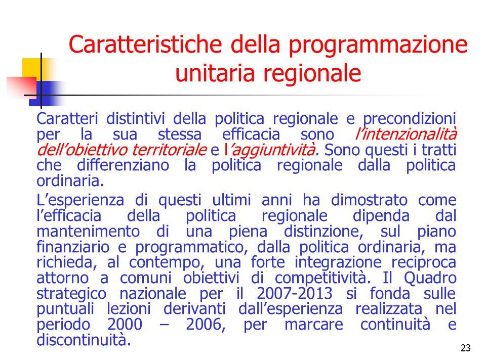 23 Caratteristiche della programmazione unitaria regionale Caratteri distintivi della politica regionale e precondizioni per la sua stessa efficacia sono lintenzionalità dellobiettivo territoriale e laggiuntività.