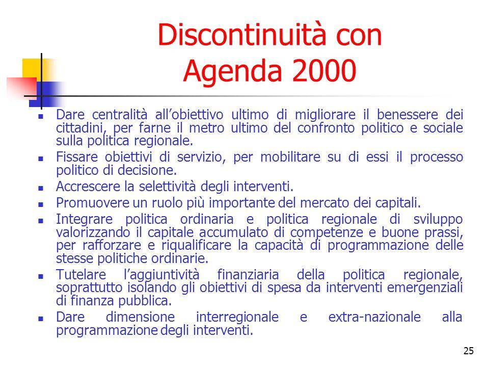 25 Discontinuità con Agenda 2000 Dare centralità allobiettivo ultimo di migliorare il benessere dei cittadini, per farne il metro ultimo del confronto politico e sociale sulla politica regionale.