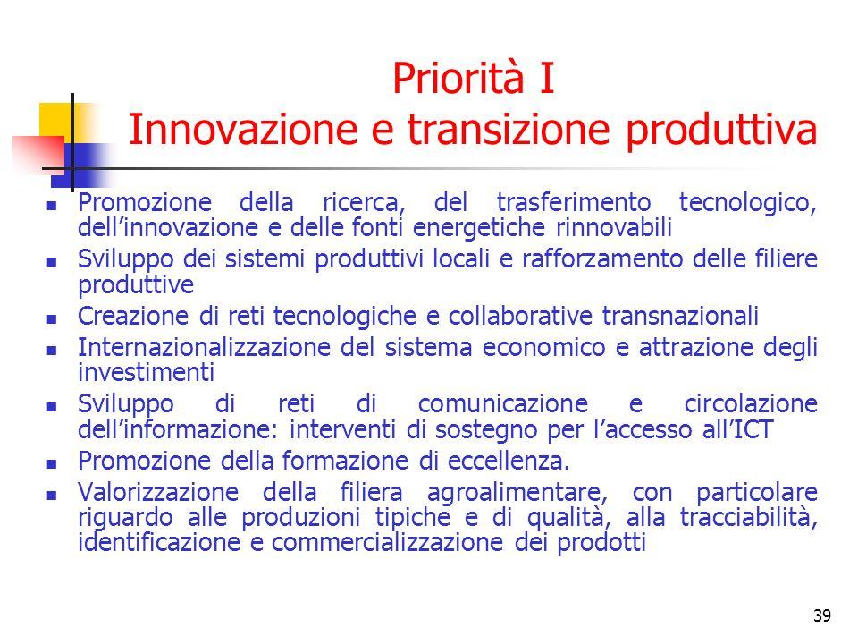 39 Priorità I Innovazione e transizione produttiva Promozione della ricerca, del trasferimento tecnologico, dellinnovazione e delle fonti energetiche rinnovabili Sviluppo dei sistemi produttivi locali e rafforzamento delle filiere produttive Creazione di reti tecnologiche e collaborative transnazionali Internazionalizzazione del sistema economico e attrazione degli investimenti Sviluppo di reti di comunicazione e circolazione dellinformazione: interventi di sostegno per laccesso allICT Promozione della formazione di eccellenza.