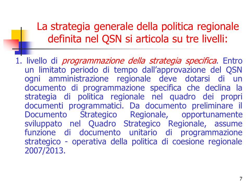 7 La strategia generale della politica regionale definita nel QSN si articola su tre livelli: 1.
