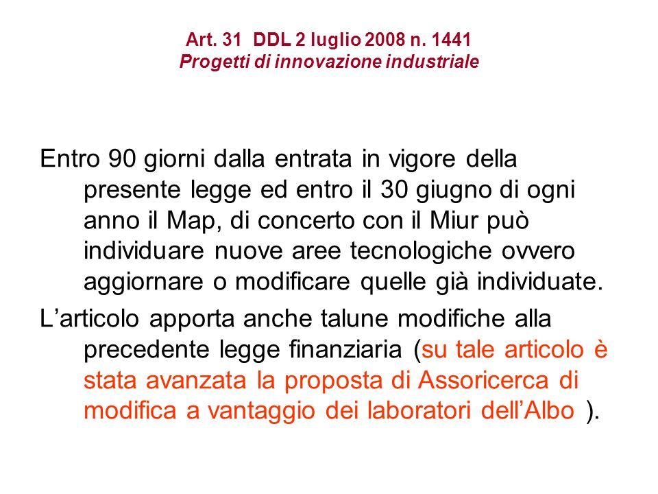 Art. 31 DDL 2 luglio 2008 n.