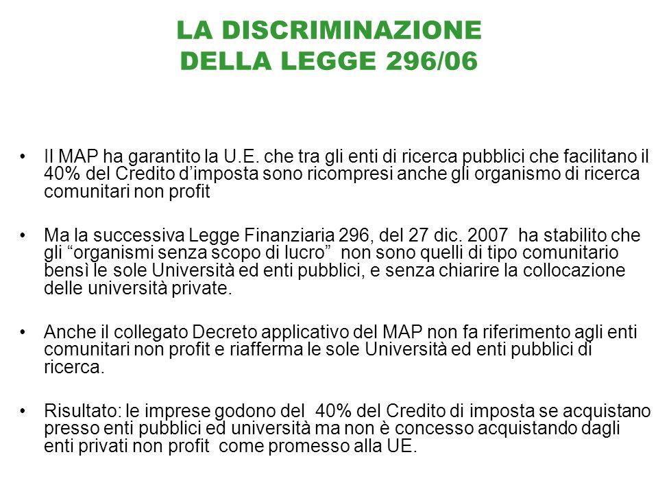 LA DISCRIMINAZIONE DELLA LEGGE 296/06 Il MAP ha garantito la U.E.