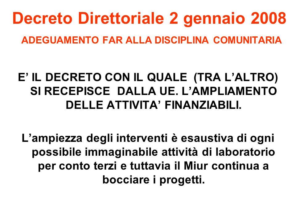 Decreto Direttoriale 2 gennaio 2008 ADEGUAMENTO FAR ALLA DISCIPLINA COMUNITARIA E IL DECRETO CON IL QUALE (TRA LALTRO) SI RECEPISCE DALLA UE.