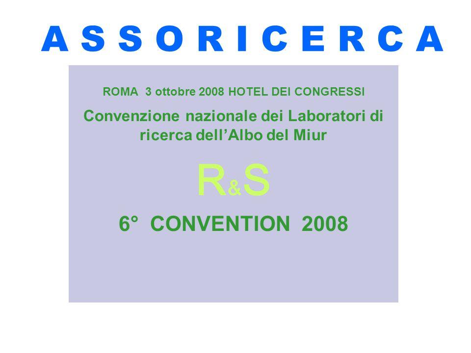 A S S O R I C E R C A ROMA 3 ottobre 2008 HOTEL DEI CONGRESSI Convenzione nazionale dei Laboratori di ricerca dellAlbo del Miur R & S 6° CONVENTION 2008