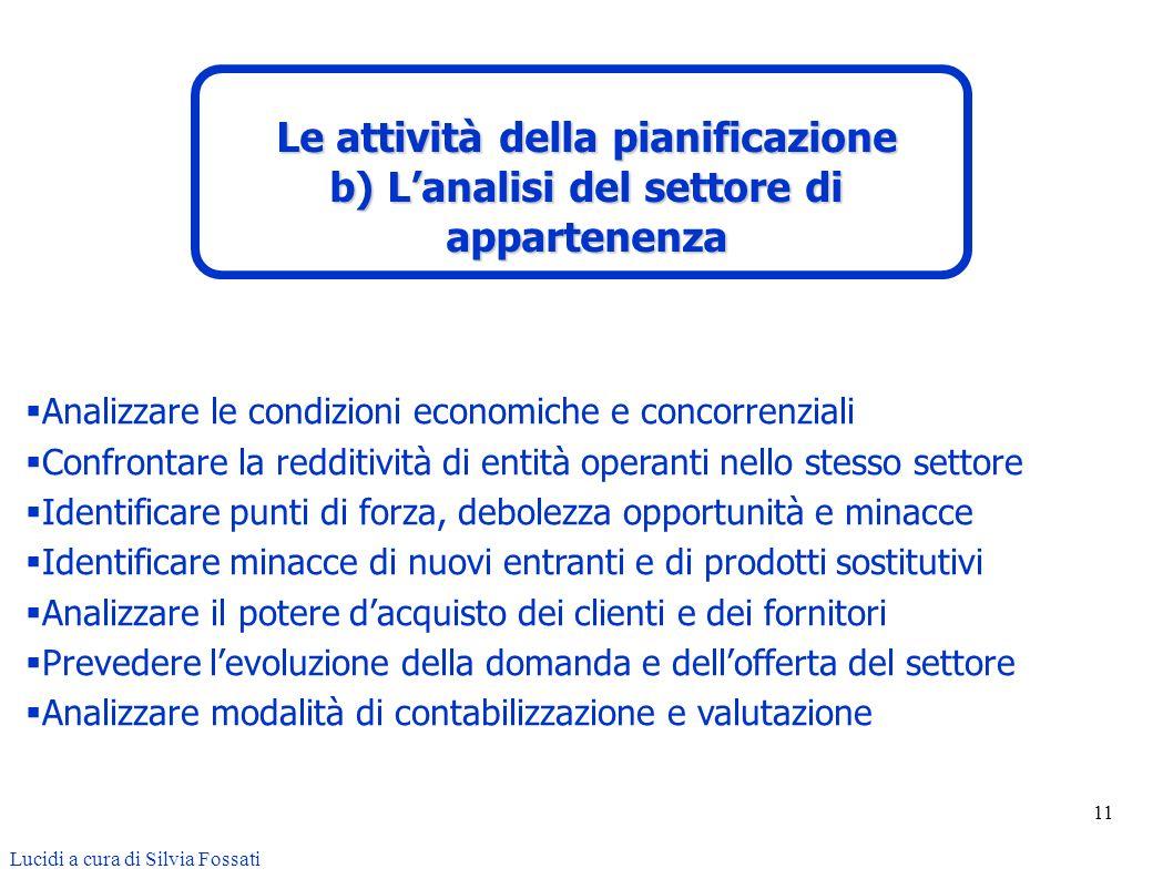 11 Analizzare le condizioni economiche e concorrenziali Confrontare la redditività di entità operanti nello stesso settore Identificare punti di forza