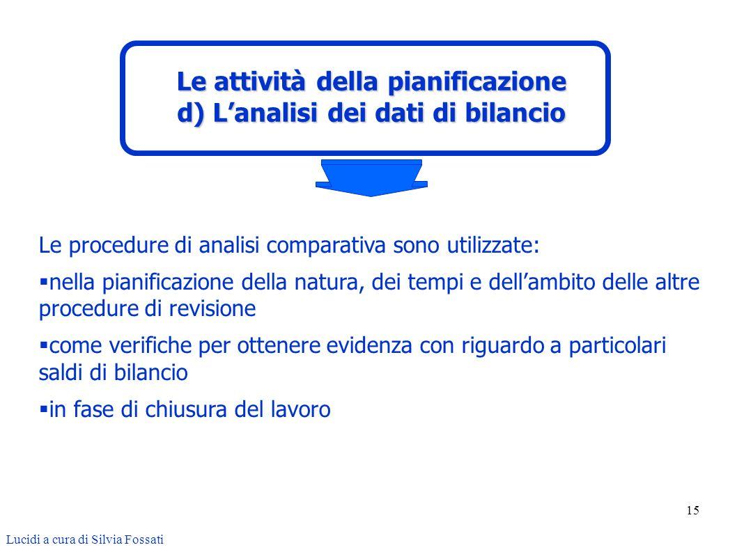 15 Le procedure di analisi comparativa sono utilizzate: nella pianificazione della natura, dei tempi e dellambito delle altre procedure di revisione c
