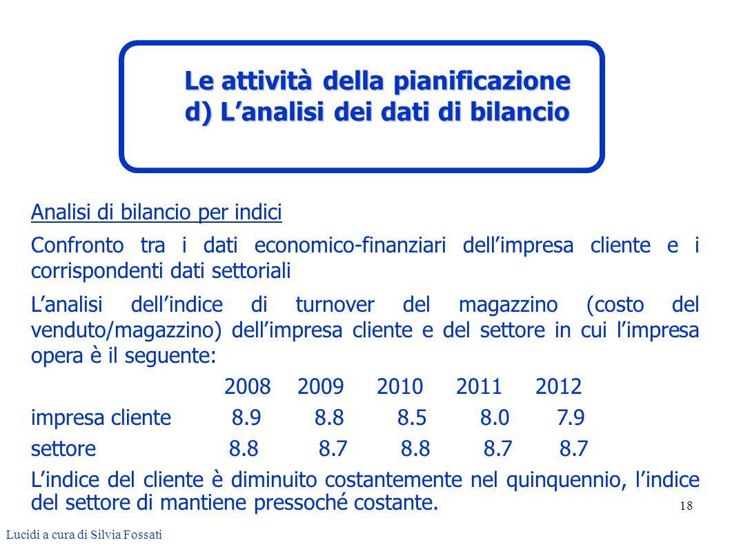 18 Analisi di bilancio per indici Confronto tra i dati economico-finanziari dellimpresa cliente e i corrispondenti dati settoriali Lanalisi dellindice