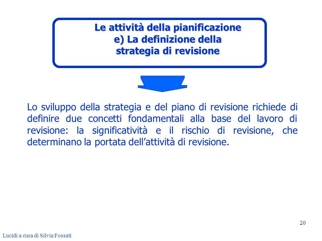 20 Lo sviluppo della strategia e del piano di revisione richiede di definire due concetti fondamentali alla base del lavoro di revisione: la significa
