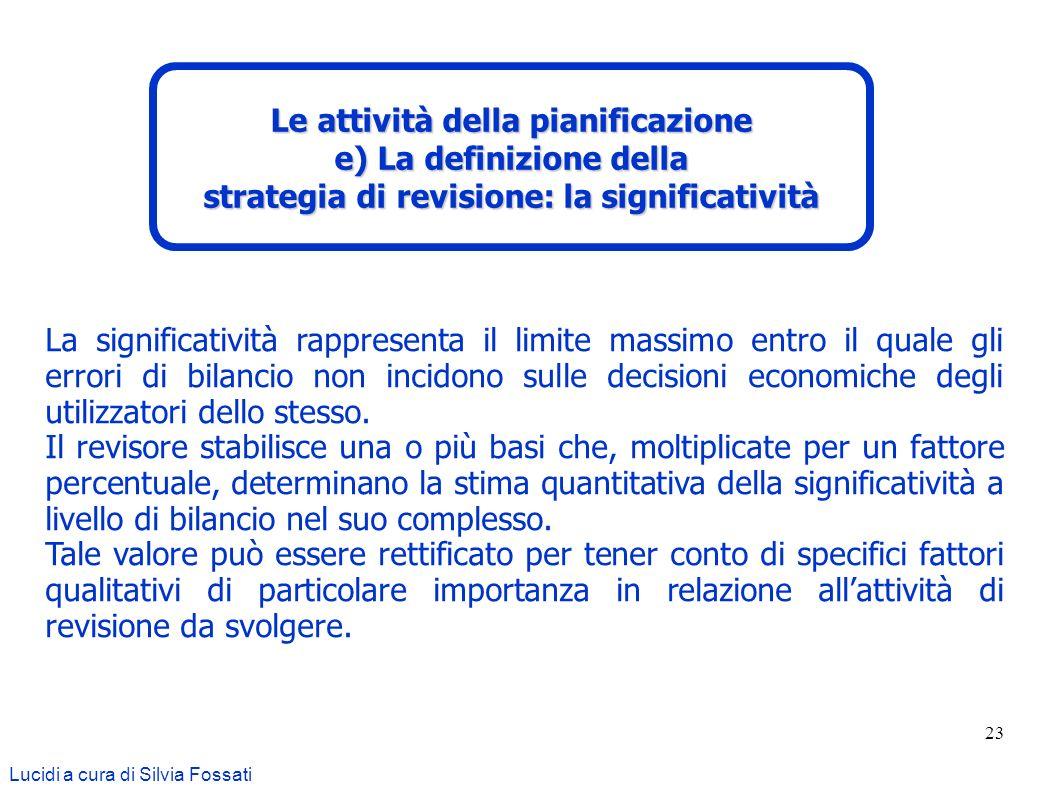 23 Lucidi a cura di Silvia Fossati Le attività della pianificazione e) La definizione della strategia di revisione: la significatività La significativ