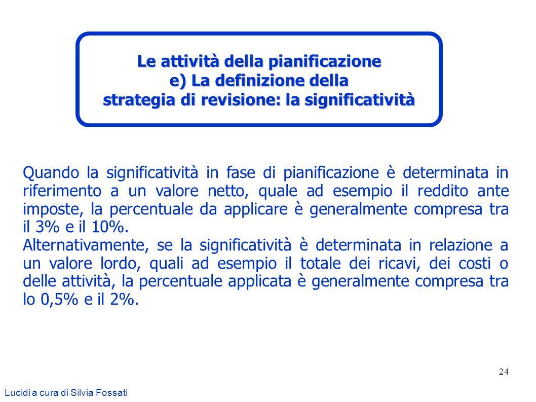 24 Lucidi a cura di Silvia Fossati Le attività della pianificazione e) La definizione della strategia di revisione: la significatività Quando la signi