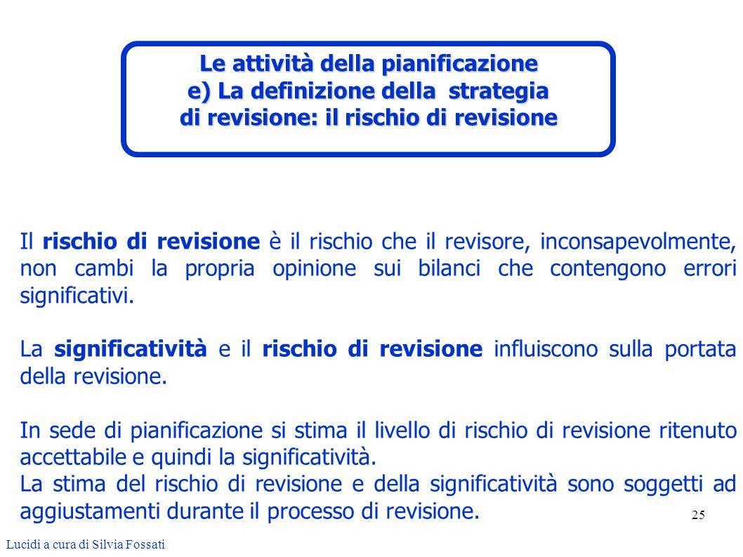 25 Lucidi a cura di Silvia Fossati Il rischio di revisione è il rischio che il revisore, inconsapevolmente, non cambi la propria opinione sui bilanci