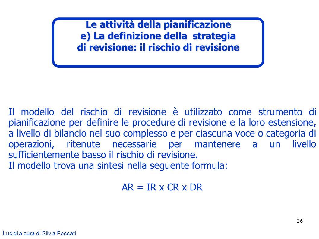 26 Lucidi a cura di Silvia Fossati Il modello del rischio di revisione è utilizzato come strumento di pianificazione per definire le procedure di revi