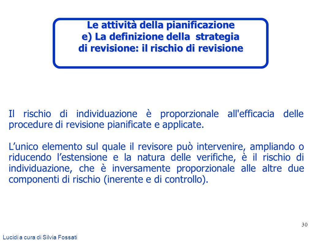 30 Lucidi a cura di Silvia Fossati Il rischio di individuazione è proporzionale all'efficacia delle procedure di revisione pianificate e applicate. Lu