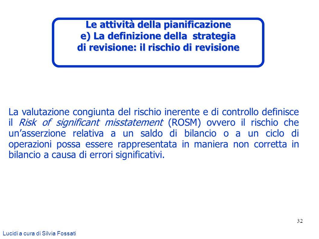 32 Lucidi a cura di Silvia Fossati La valutazione congiunta del rischio inerente e di controllo definisce il Risk of significant misstatement (ROSM) o