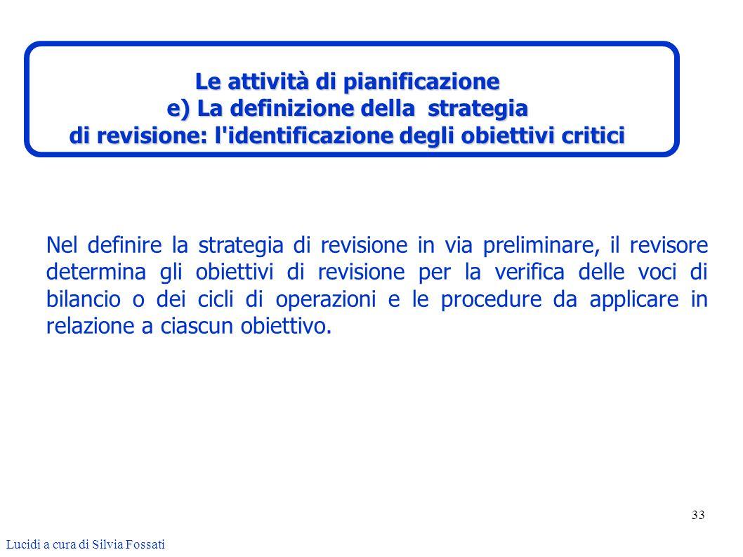 33 Nel definire la strategia di revisione in via preliminare, il revisore determina gli obiettivi di revisione per la verifica delle voci di bilancio