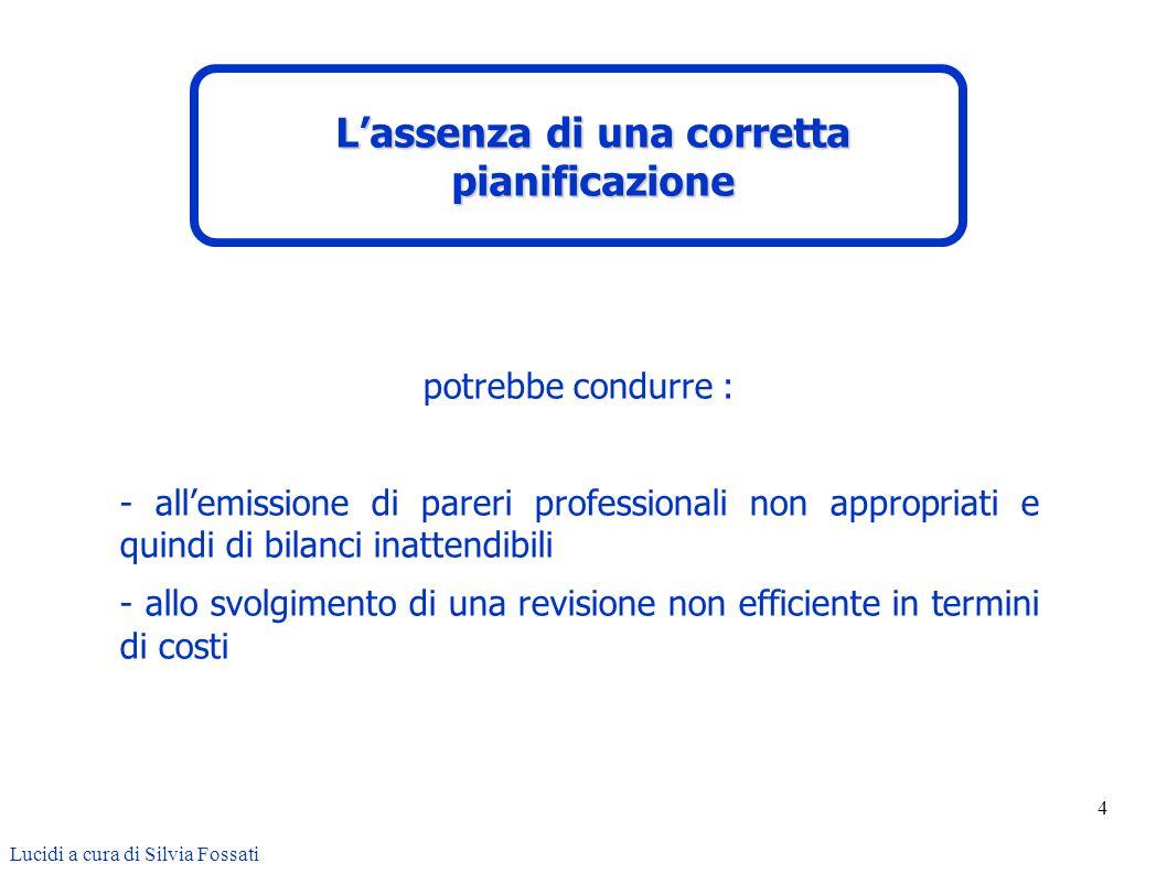 25 Lucidi a cura di Silvia Fossati Il rischio di revisione è il rischio che il revisore, inconsapevolmente, non cambi la propria opinione sui bilanci che contengono errori significativi.