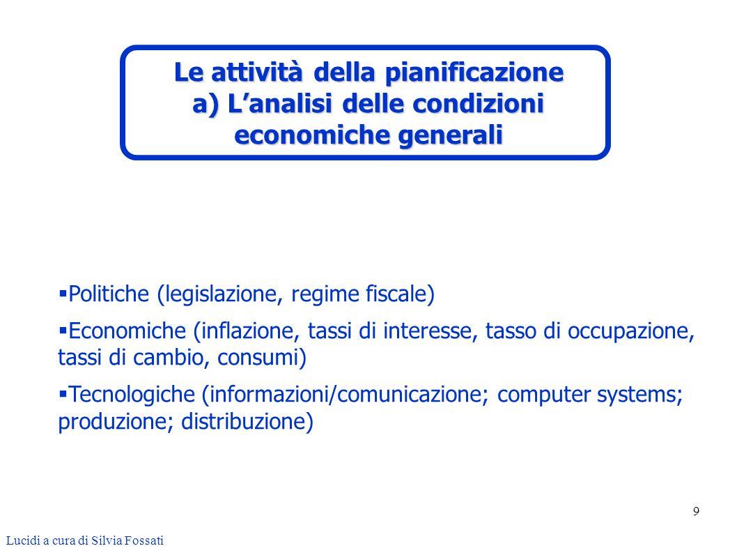 9 Politiche (legislazione, regime fiscale) Economiche (inflazione, tassi di interesse, tasso di occupazione, tassi di cambio, consumi) Tecnologiche (i