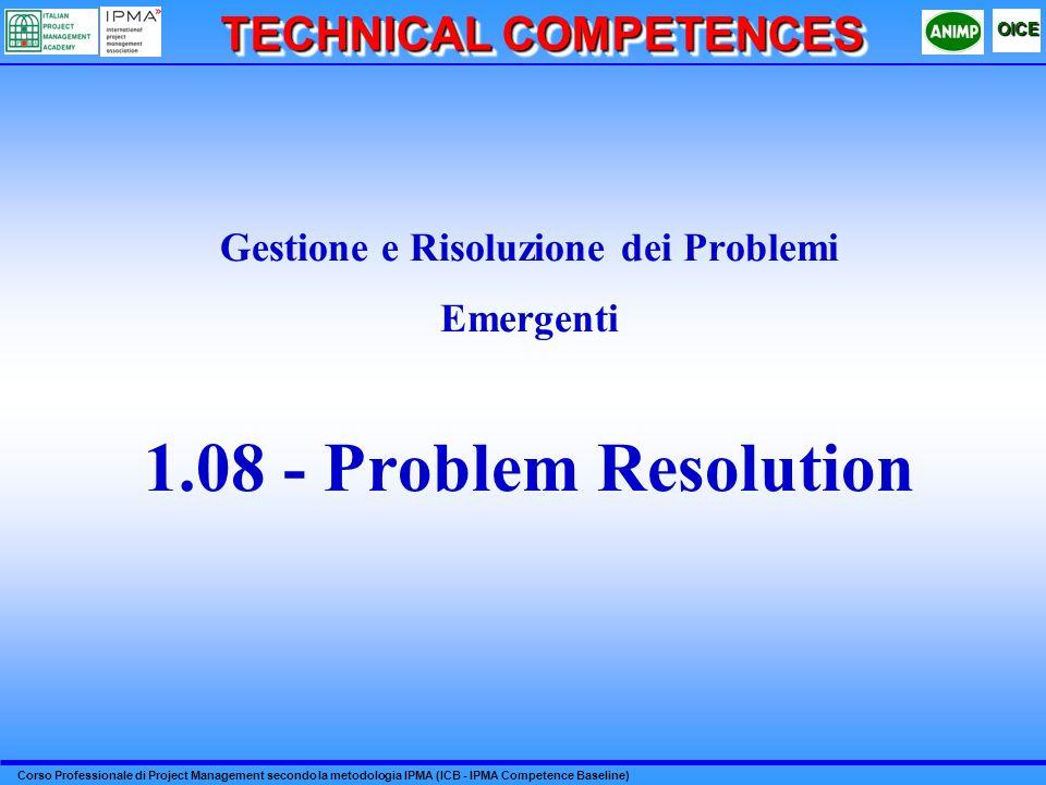 Corso Professionale di Project Management secondo la metodologia IPMA (ICB - IPMA Competence Baseline) OICE TECHNICAL COMPETENCES Gestione e Risoluzio