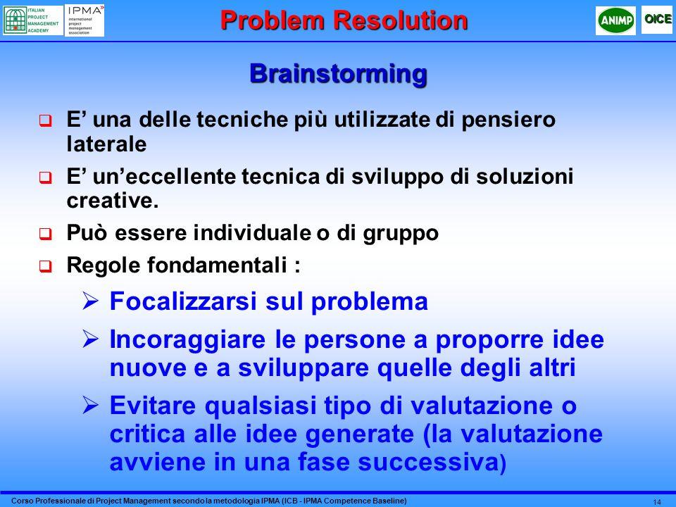 Corso Professionale di Project Management secondo la metodologia IPMA (ICB - IPMA Competence Baseline) OICE 14 Brainstorming Problem Resolution E una