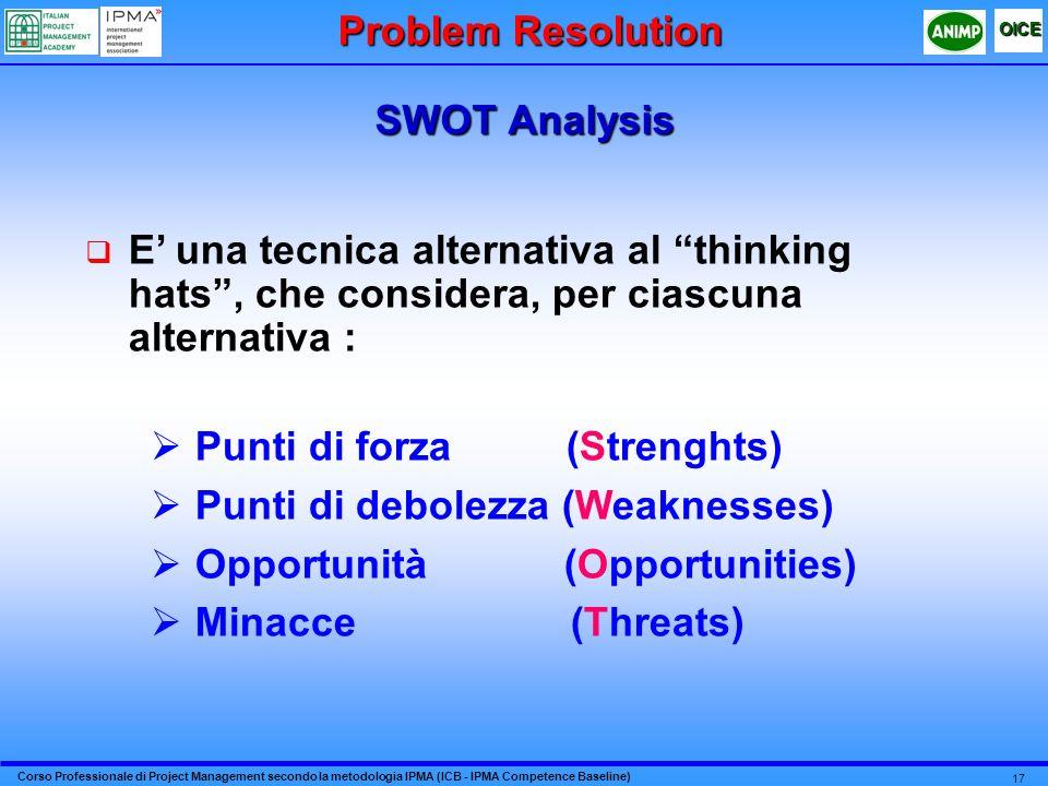 Corso Professionale di Project Management secondo la metodologia IPMA (ICB - IPMA Competence Baseline) OICE 17 SWOT Analysis Problem Resolution E una