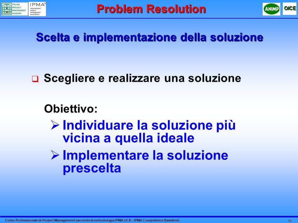 Corso Professionale di Project Management secondo la metodologia IPMA (ICB - IPMA Competence Baseline) OICE 18 Scelta e implementazione della soluzion