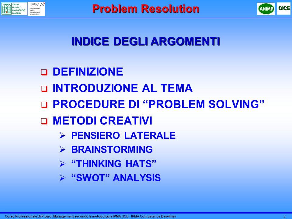 Corso Professionale di Project Management secondo la metodologia IPMA (ICB - IPMA Competence Baseline) OICE 2 DEFINIZIONE INTRODUZIONE AL TEMA PROCEDU
