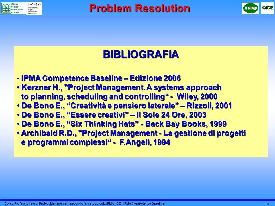 Corso Professionale di Project Management secondo la metodologia IPMA (ICB - IPMA Competence Baseline) OICE 20 Problem Resolution BIBLIOGRAFIA IPMA Co