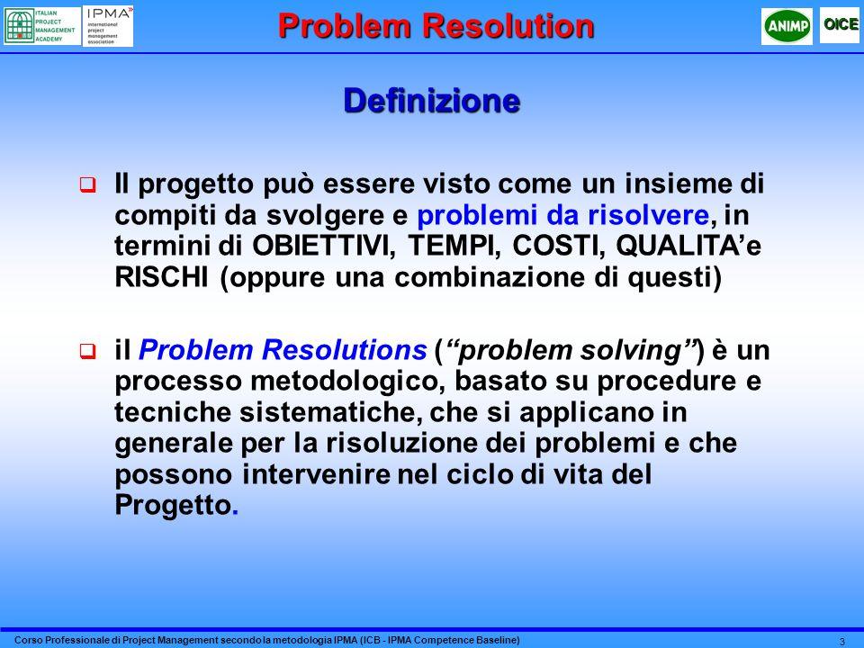 Corso Professionale di Project Management secondo la metodologia IPMA (ICB - IPMA Competence Baseline) OICE 3 Definizione Il progetto può essere visto