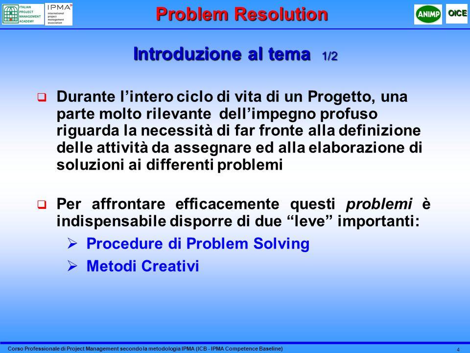 Corso Professionale di Project Management secondo la metodologia IPMA (ICB - IPMA Competence Baseline) OICE 4 Introduzione al tema 1/2 Durante lintero