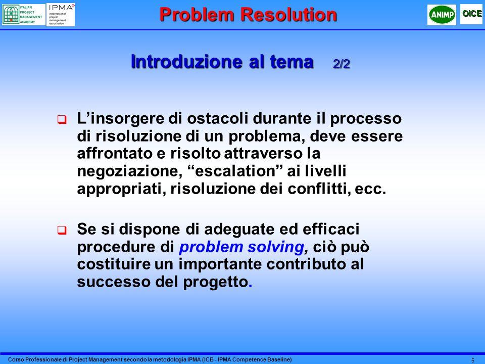 Corso Professionale di Project Management secondo la metodologia IPMA (ICB - IPMA Competence Baseline) OICE 5 Introduzione al tema 2/2 Linsorgere di o