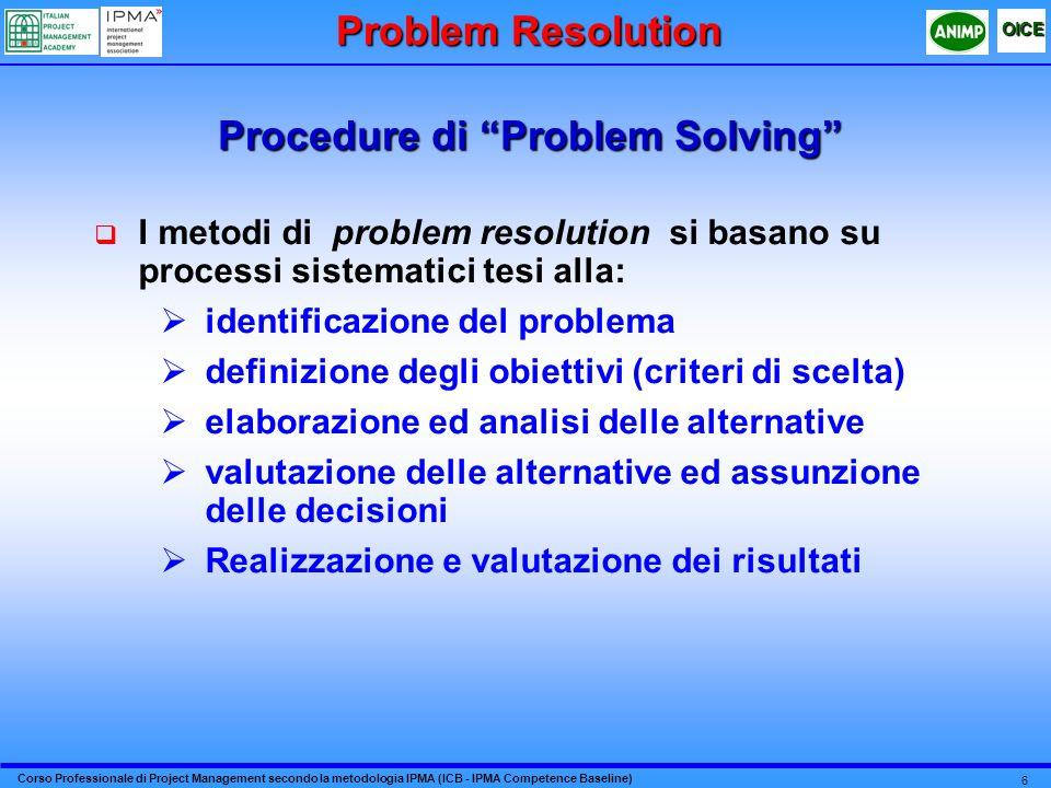 Corso Professionale di Project Management secondo la metodologia IPMA (ICB - IPMA Competence Baseline) OICE 6 Procedure di Problem Solving I metodi di