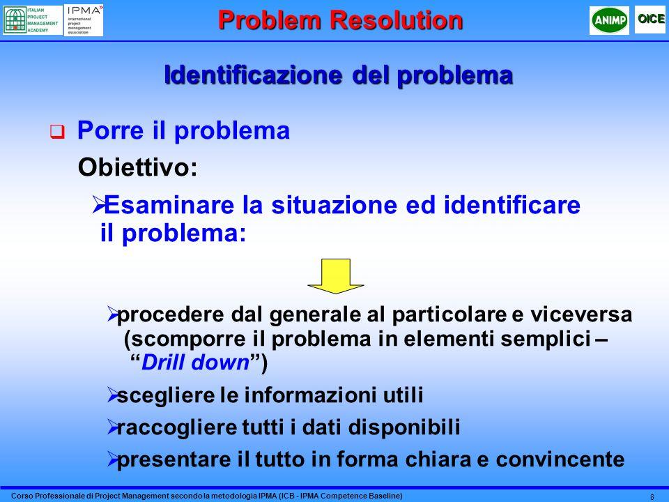 Corso Professionale di Project Management secondo la metodologia IPMA (ICB - IPMA Competence Baseline) OICE 8 Identificazione del problema Porre il pr