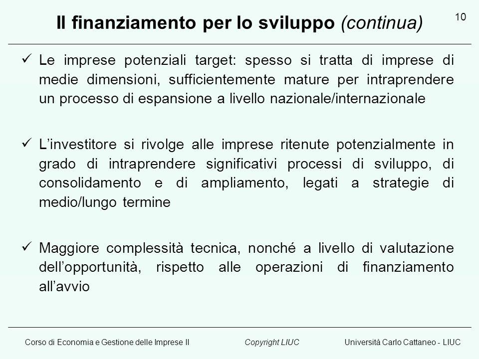 Corso di Economia e Gestione delle Imprese IIUniversità Carlo Cattaneo - LIUCCopyright LIUC 10 Il finanziamento per lo sviluppo (continua) Le imprese