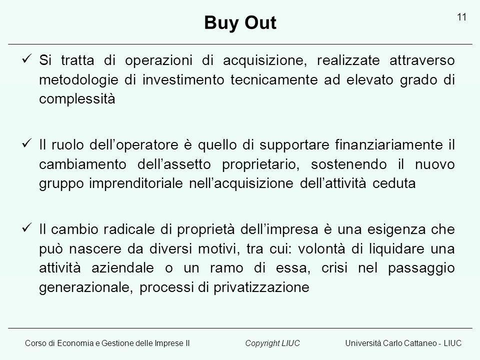 Corso di Economia e Gestione delle Imprese IIUniversità Carlo Cattaneo - LIUCCopyright LIUC 11 Buy Out Si tratta di operazioni di acquisizione, realiz