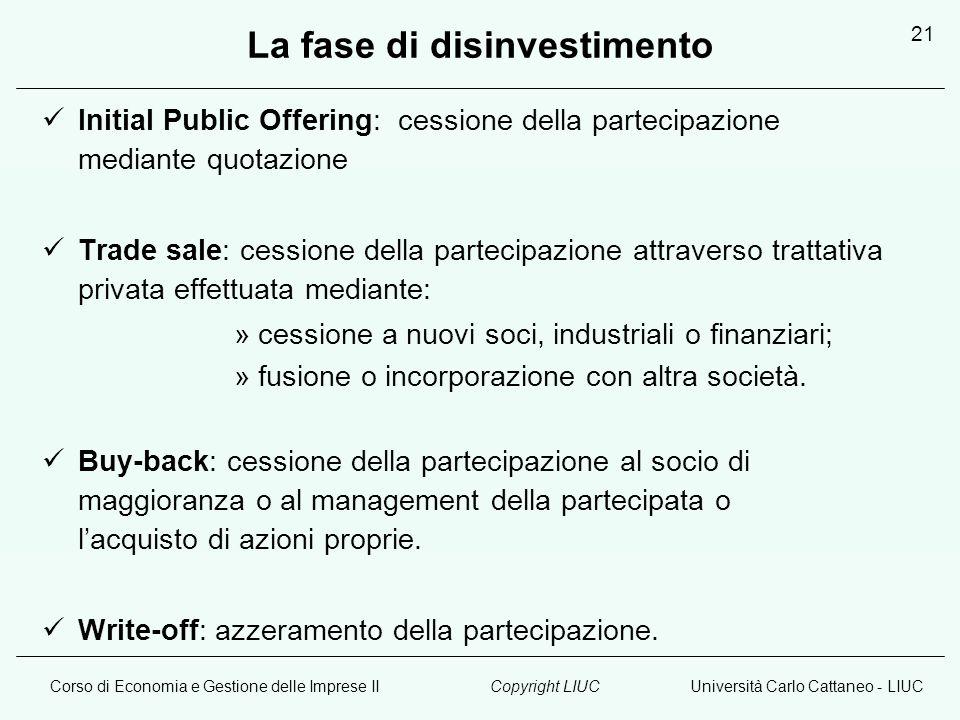 Corso di Economia e Gestione delle Imprese IIUniversità Carlo Cattaneo - LIUCCopyright LIUC 21 La fase di disinvestimento Initial Public Offering: ces
