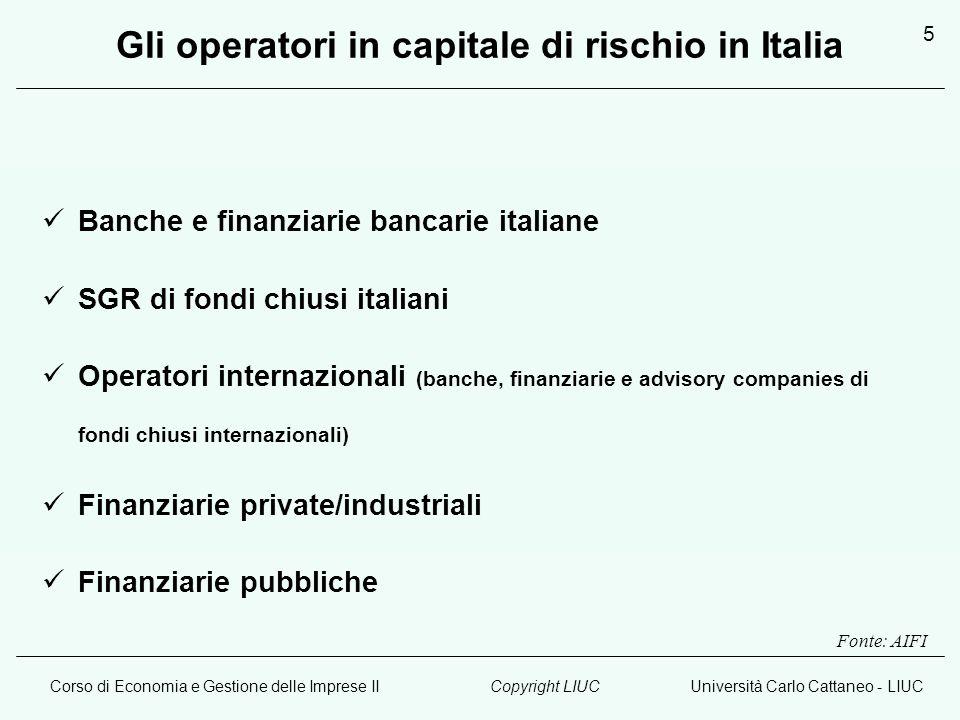 Corso di Economia e Gestione delle Imprese IIUniversità Carlo Cattaneo - LIUCCopyright LIUC 5 Gli operatori in capitale di rischio in Italia Banche e