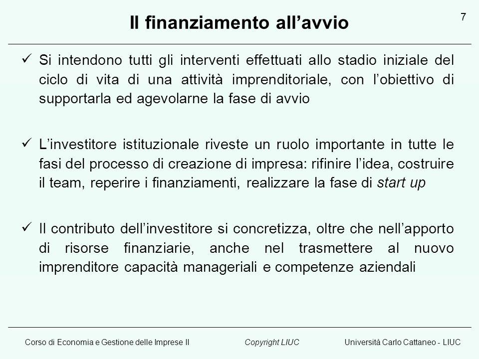 Corso di Economia e Gestione delle Imprese IIUniversità Carlo Cattaneo - LIUCCopyright LIUC 7 Il finanziamento allavvio Si intendono tutti gli interve