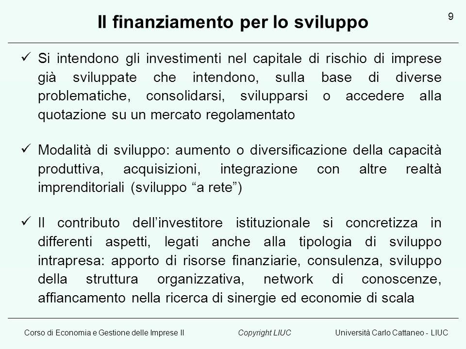 Corso di Economia e Gestione delle Imprese IIUniversità Carlo Cattaneo - LIUCCopyright LIUC 9 Il finanziamento per lo sviluppo Si intendono gli invest