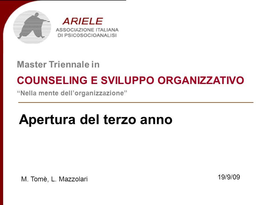 Master in Counseling e Sviluppo Organizzativo III^ anno di corso Docenti Incontro dapertura Ricominciamo … (A.