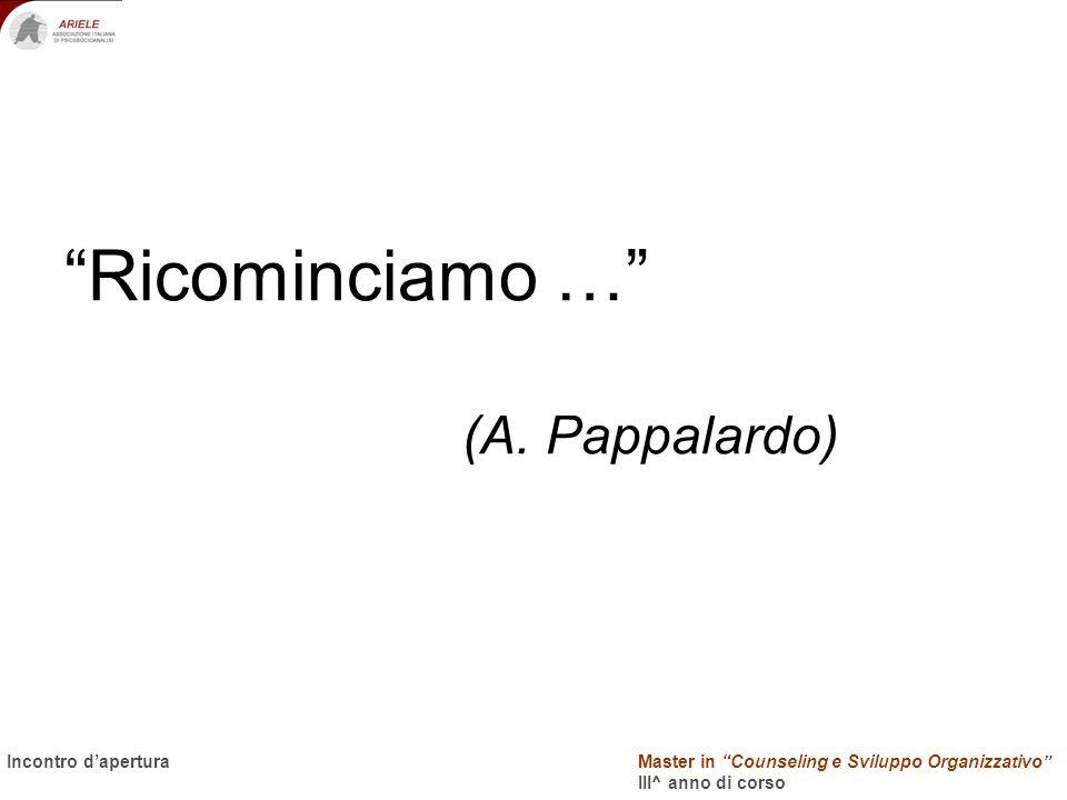 Master in Counseling e Sviluppo Organizzativo III^ anno di corso Docenti Incontro dapertura Ricominciamo … (A. Pappalardo)