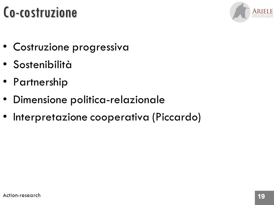 19 Action-researchCo-costruzione Costruzione progressiva Sostenibilità Partnership Dimensione politica-relazionale Interpretazione cooperativa (Piccardo)