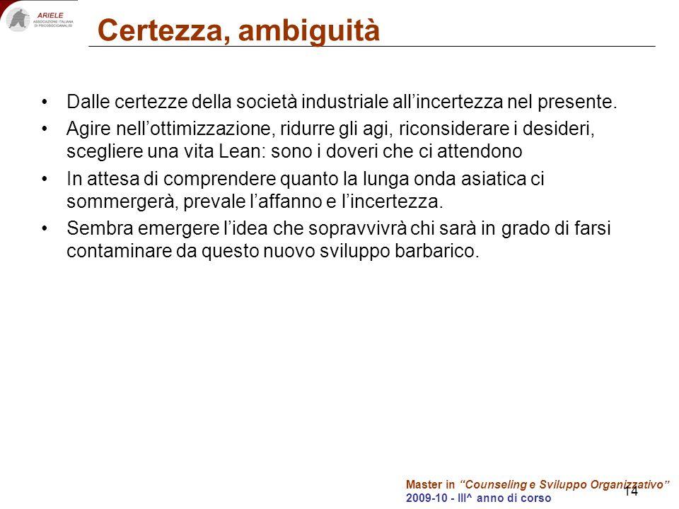 Master in Counseling e Sviluppo Organizzativo 2009-10 - III^ anno di corso 14 Certezza, ambiguità Dalle certezze della società industriale allincertezza nel presente.