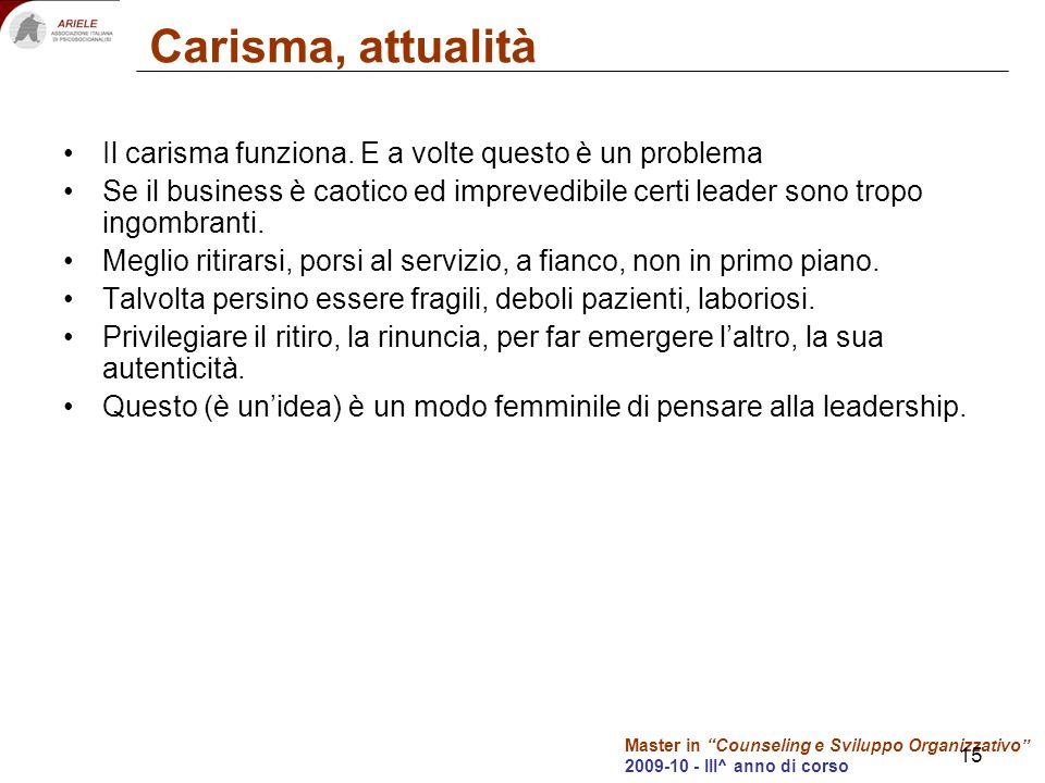 Master in Counseling e Sviluppo Organizzativo 2009-10 - III^ anno di corso 15 Carisma, attualità Il carisma funziona. E a volte questo è un problema S